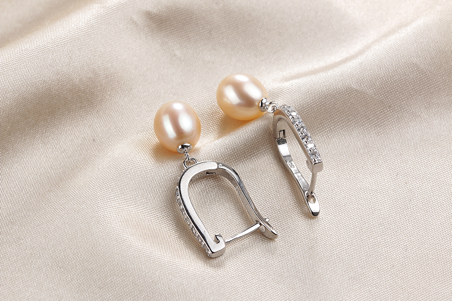 HTB15wNUe3aH3KVjSZFjq6AFWpXas - Women Freshwater Pearl Earrings Zircon Fashion 925 Sterling Silver Drop Earring White Real Pearl Wedding  Jewelry With Box