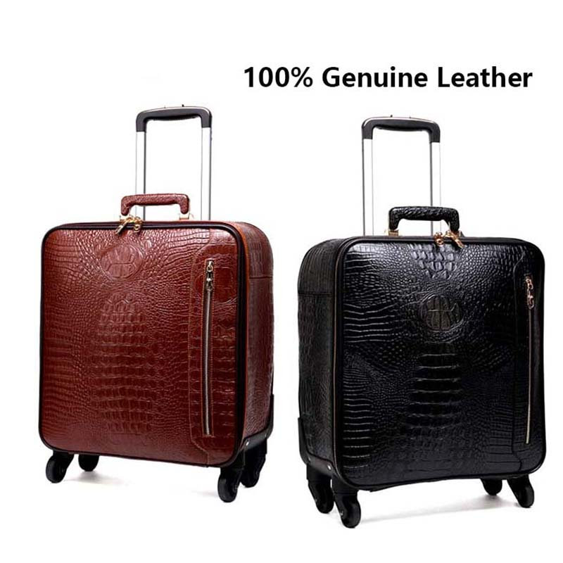 Us 211 2 45 Off Letrend Genuine Leather Rolling Luggage Men Multifunction Suitcase Wheels 16 Inch Retro Crocodile Trolley Travel Bags Laptop Bag In