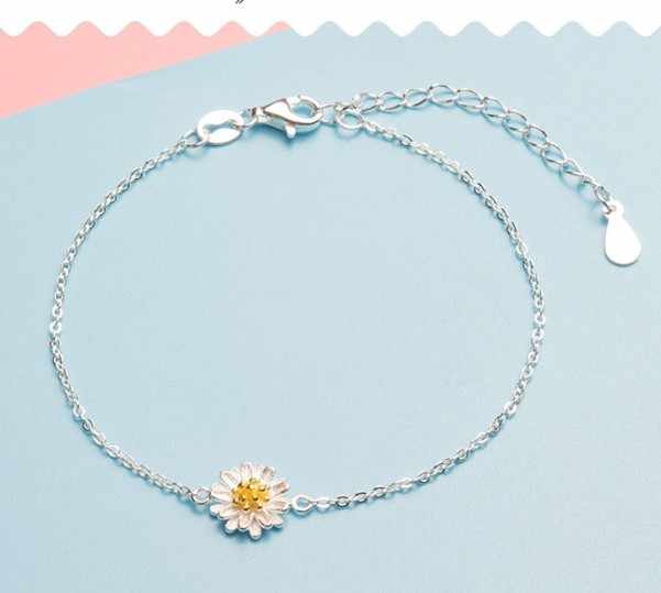 Hot Sell silver plated  Daisy bracelet chrysanthemum pendant charm link chain wedding jewelry cute bangles drop shipping
