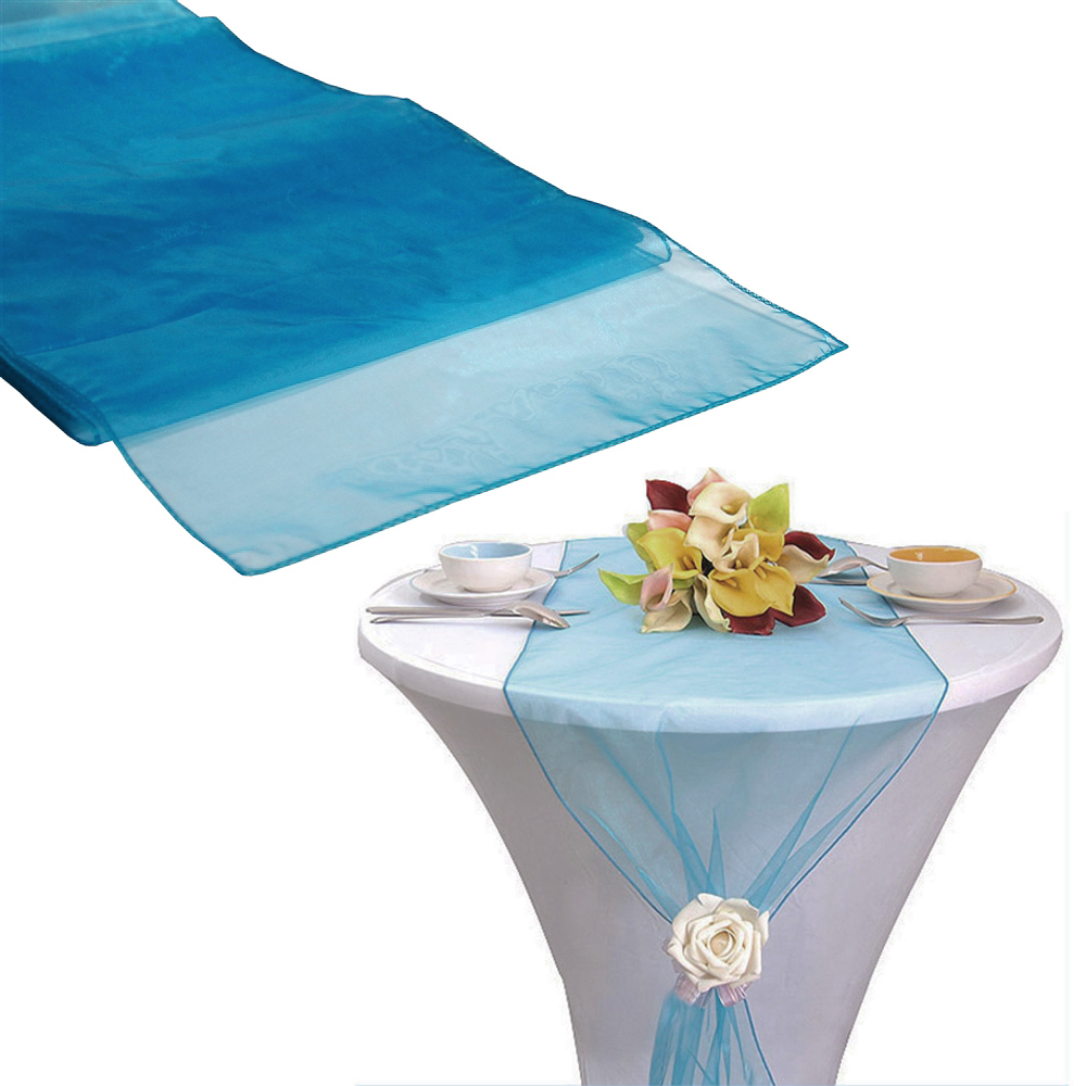 High Quality 75pcs Teal Blue Organza Sash Table Runner Chair Sashes Table Runners Bow  Banquet Wedding Party(