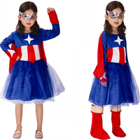 Quality New Kids Halloween Anime Super Hero Cosplay Carnival Party Girl Captain America Dress Avengers Children's Apparel