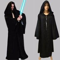 New 2016 Star Wars Jedi Costume Adult Black Jedi Robe Hoodie Cloak Men Halloween Cosplay Star