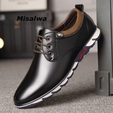 Misalwa Men Shoes 2019 England Style Leisure Soft Comfort Footwear Leather Sneakers Four Seasons Moccasins Drop ship