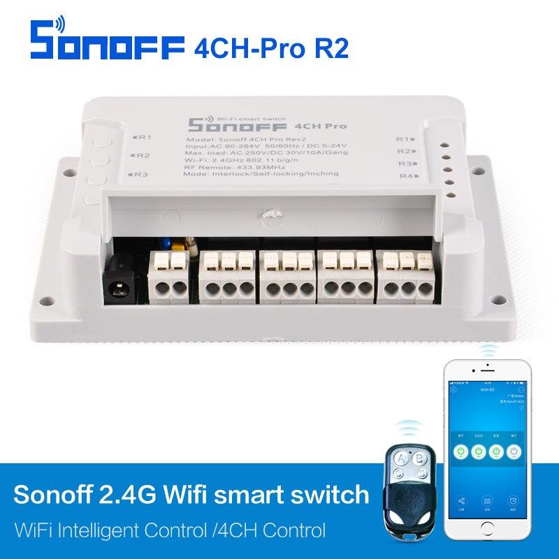 Sonoff 4CH Pro r2 4 Channel WiFi RF Smart ON/OFF Smart Remote Controll Inching/Self-Locking/Interlock/ Timer DIN Rail Mounted