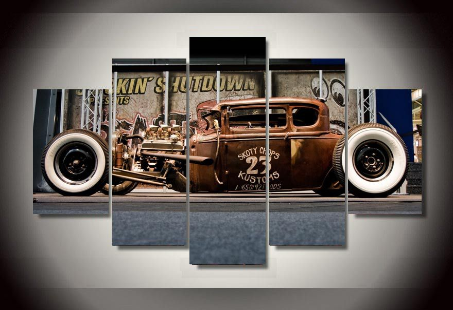 hd printed antique classic car group painting room decor print poster picture canvas decoration free shipping