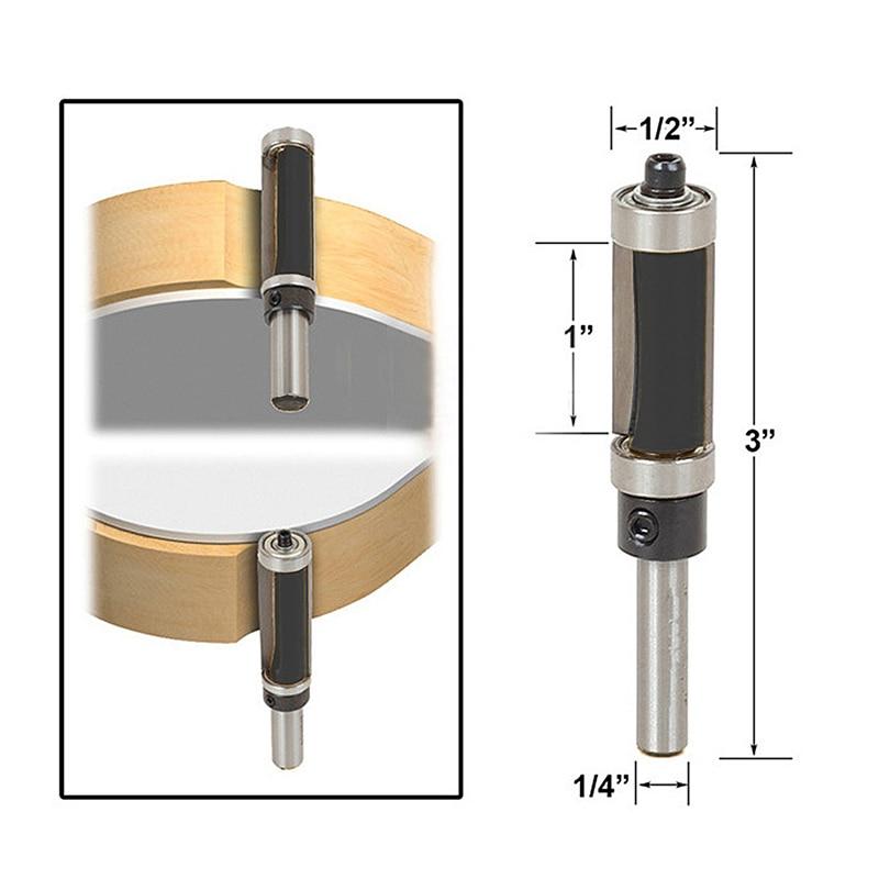 Flush Trim Router Bit Top & Bottom Bearing 1 H X 1/4'' Shank Woodworking Tool freeshipping 1pc flush trim pattern router bit 1 2 shank top