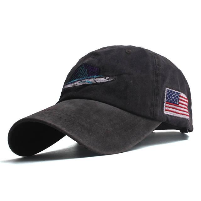 Casual fish embroidery men's baseball caps