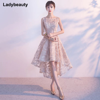Ladybeauty New Arrival Elegant Party Prom Dress Vestido De Festa Lace Evening Dresses Appliques High Low