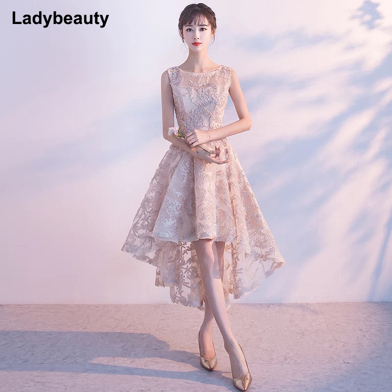 Weddings & Events Ladybeauty 2018 New Evening Dress Black With Khaki Color Lace Short Prom Party Gowns Wedding Plus Dresses