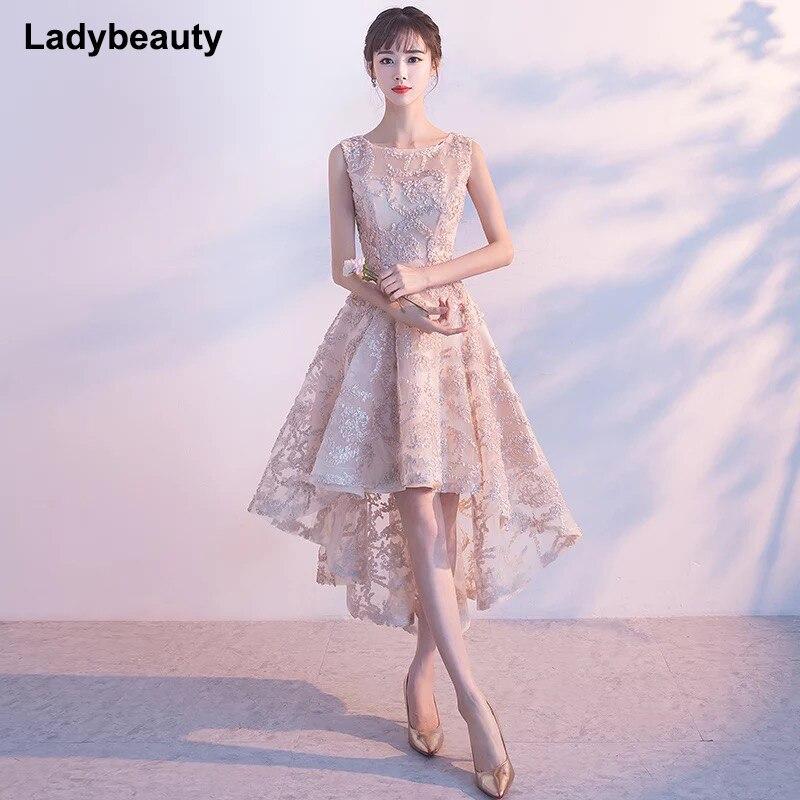 Ladybeauty New Arrival elegant party prom dress Vestido de Festa lace evening dresses appliques high-low style dress