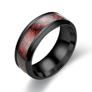Man Ring Red Black Dragon Stainless steel Rings Wedding Rings G-042(China)