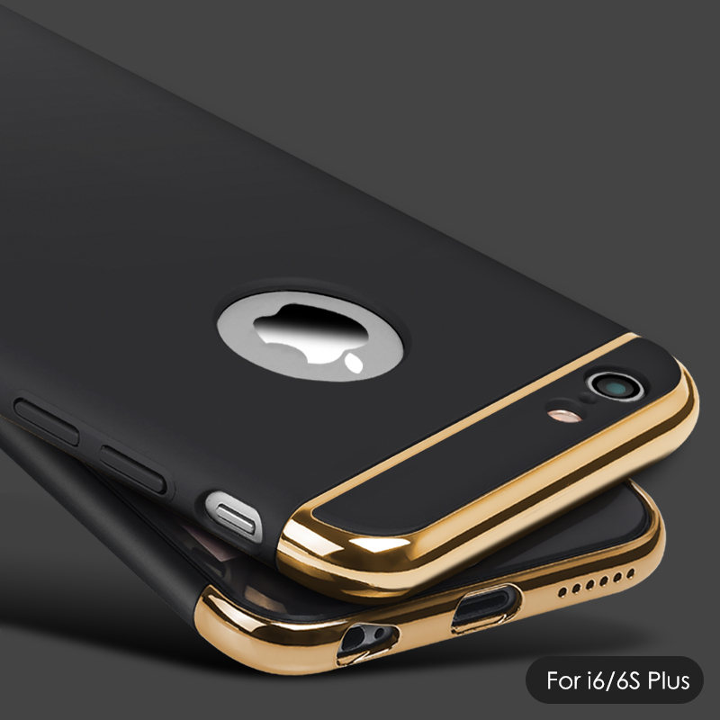 Новые 3in1 ультра тонкий Роскошный Матовый противоударный покрытие металла текстура кожи протектор телефона чехол для iPhone 6 6S плюс