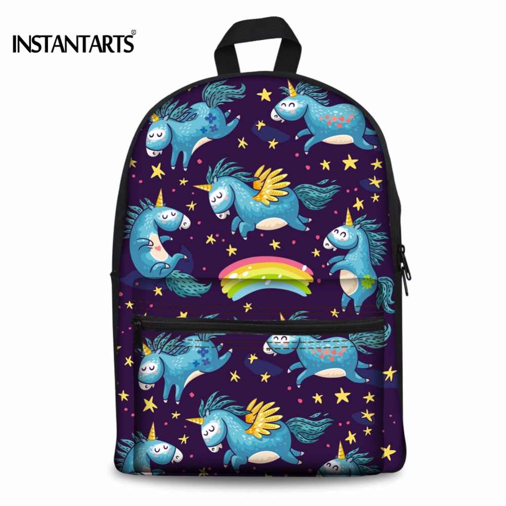 INSTANTARTS Kawaii Unicorn Women Backpacks Horse Printing Primary Students Book Shoulder Bags Canvas Daypacks for Teenagers