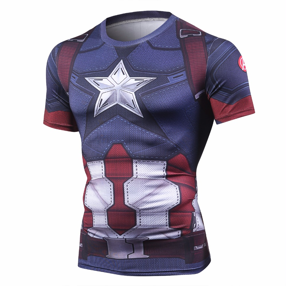 Captain America Men's Fitness T-shirt Marvel Heroes Replica 3 Clothes 2018 Cosplay Short Sleeve Crossfit Tops For Male Fit Cloth