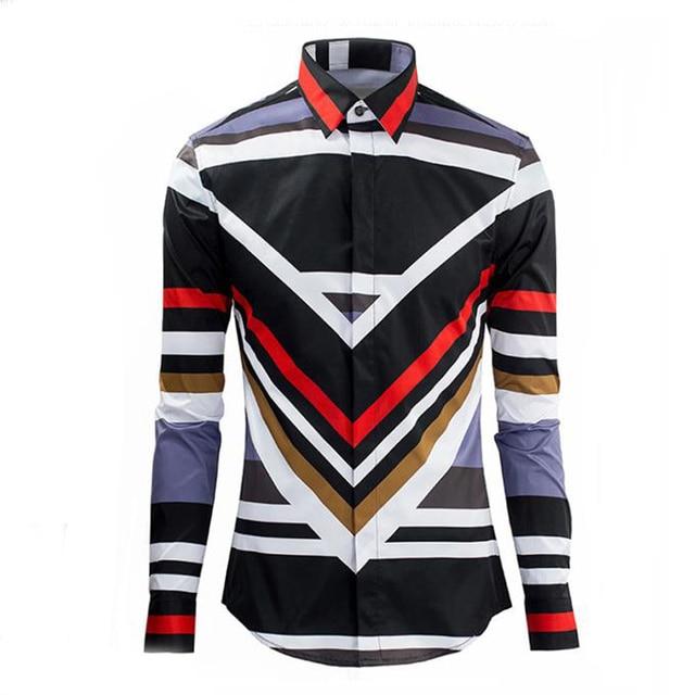 08e8cde88 Luxury Brand Mens Fancy Shirts Retro Long Sleeve Cotton Button Dress Shirts  Man Casual Slim Fit