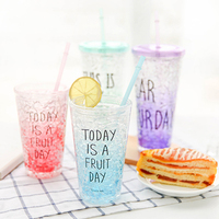 My Summer Water Bottle Plastic Cheap Sport Space Cup With Straw Juice Bottle For Students Children
