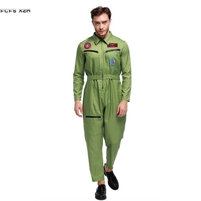 Green Men Halloween Pilot Jumpsuit uniforms Costume Aviator Cosplay Instructors Role play Carnival Purim Masquerade party  sc 1 st  AliExpress.com & Green Men Halloween Pilot Jumpsuit uniforms Costume Aviator Cosplay ...
