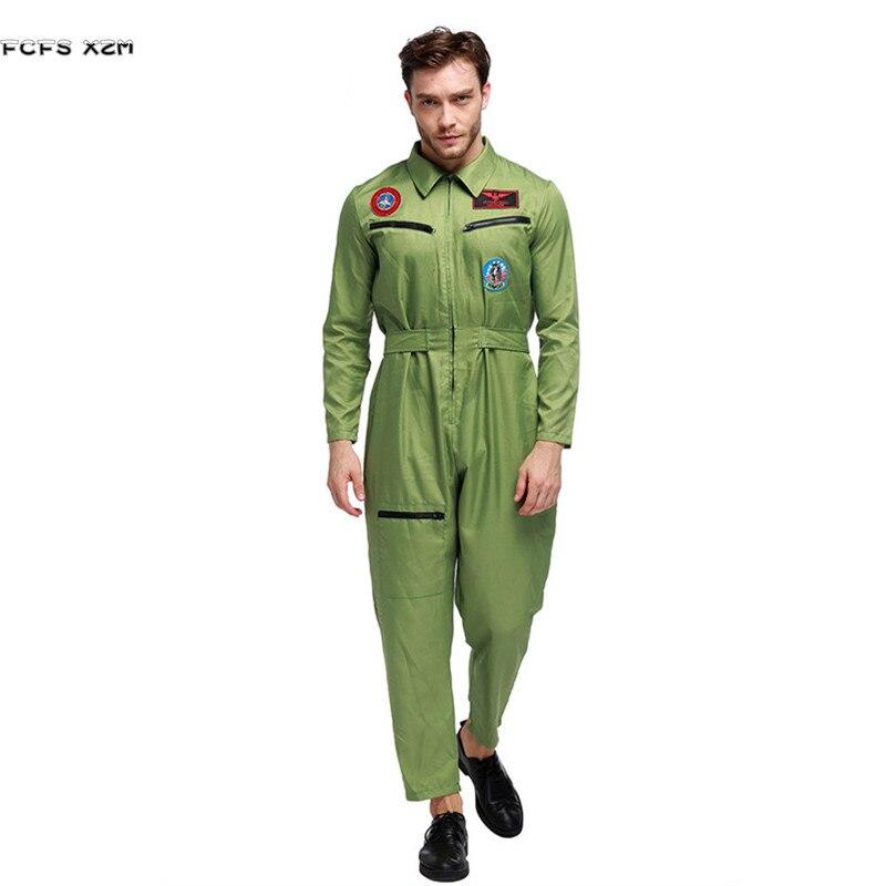 Vert hommes Halloween pilote combinaison uniformes Costume aviateur Cosplay instructeurs jeu de rôle carnaval pourim mascarade robe de soirée