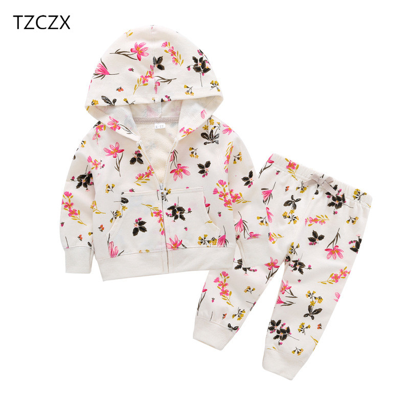 TZCZX-4420 New Spring Children Baby Girls Sets Fashion Novelty Flowers Printed For 6 Month to 3 Years Old Kids Wear Clothes