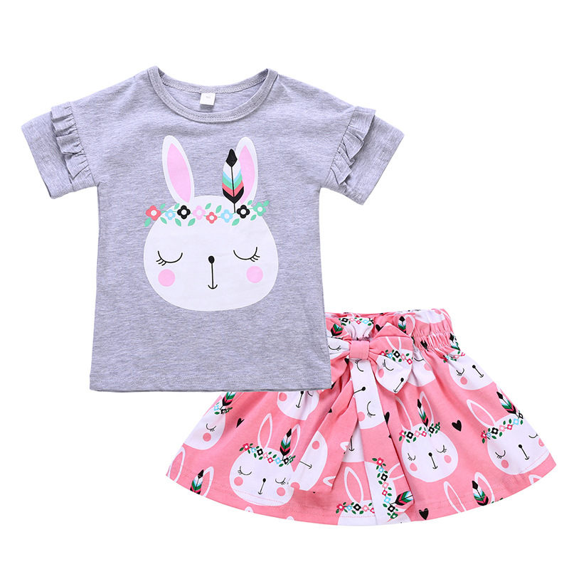 2018 Summer Baby Girl Clothes Short sleeved T shirt And Skirt 2 Piece Set Girl Cartoon rabbit T shirt Casual Skirt Baby Clothes in Clothing Sets from Mother Kids