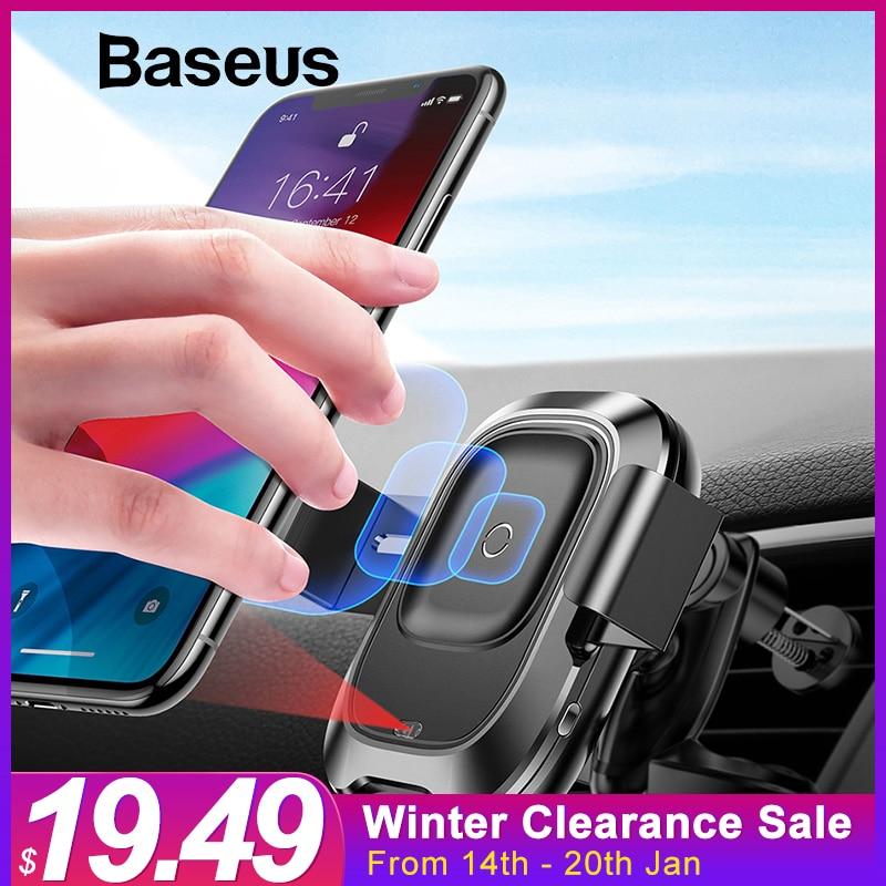 Baseus sostenedor del teléfono del coche para iPhone XR Sensor inteligente coche cargador inalámbrico Universal de montaje de ventilación de aire del soporte del teléfono móvil