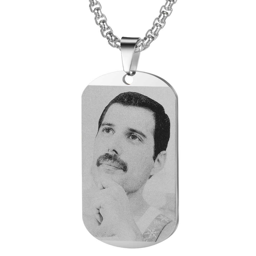 2019 Freddie Mercury Band Photo Engraved Stainless Steel Pendant Necklace Rectangle Necklace For Women Girls SL-110