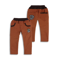 Winter Boys Pants Warm Thicken Plus Velvet Kid Trousers Embroidered Fleece Inner Cute Bear Logo Pants