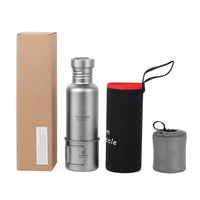 Lixada Outdoor Tableware 300ml/750ml Titanium Water Bottle with Extra Plastic Lid Ultralight Outdoor Camping Hiking Cycling