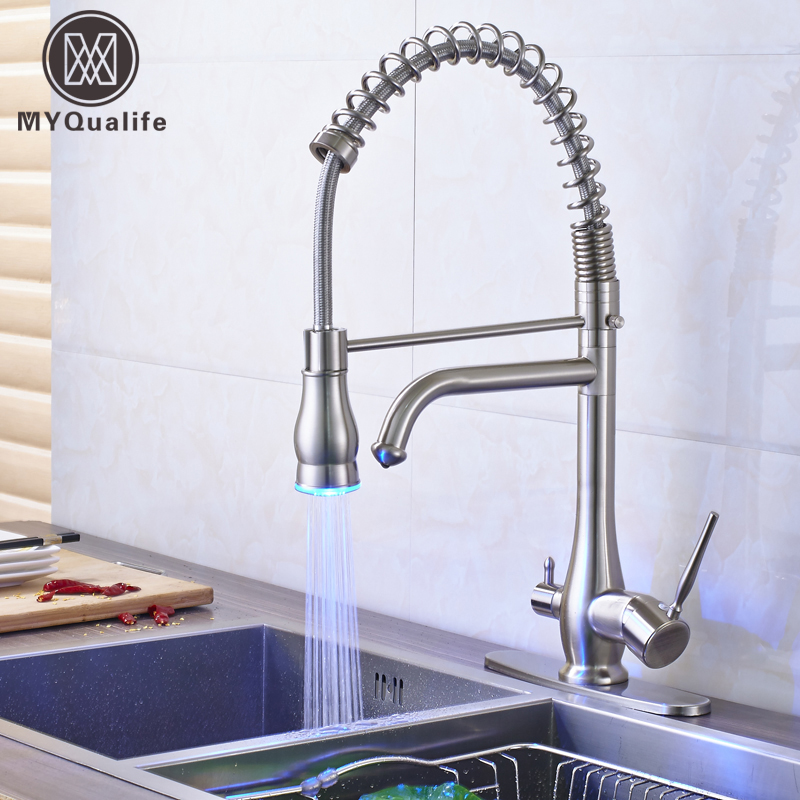 LED Color Changing Pull Down Sprayer Kitchen Sink Faucet Deck Mounted Dual Spout Lavatory Kitchen Pure