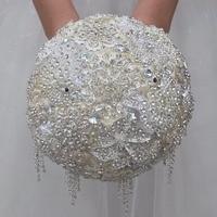 New Luxious Diamond Brooch Bouquet for Wedding ,Quality assurance Durable Heavy Drop Rhinestone Bride Bouquet Accept Custom