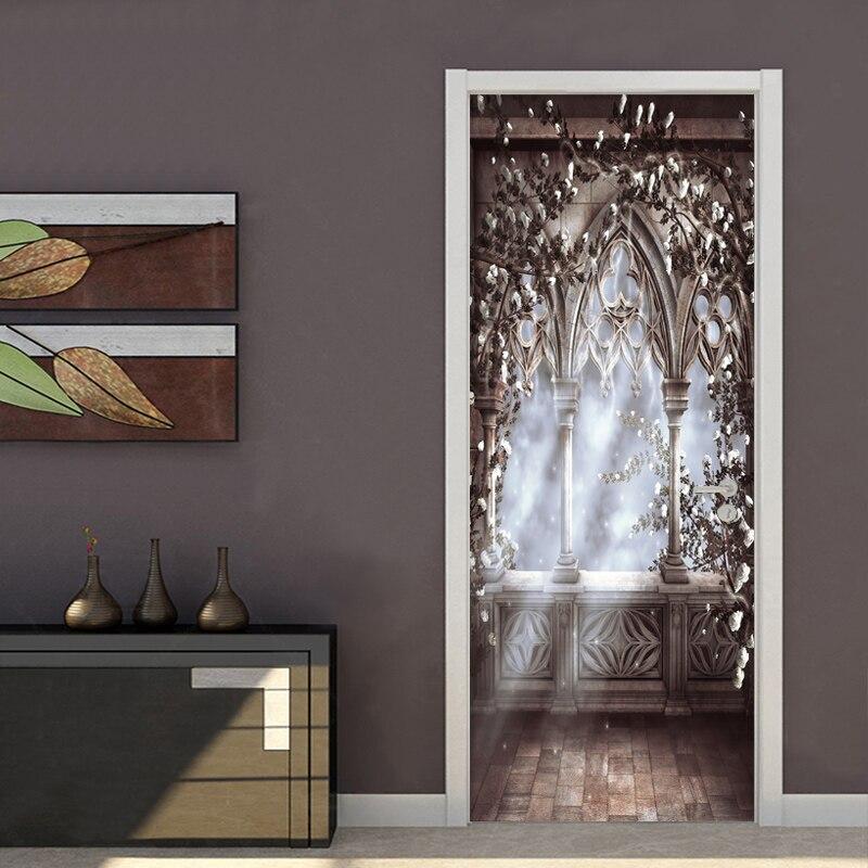 European Style Landscape Door Sticker PVC Self-Adhesive Wallpaper Wall Mural Living Room Bedroom Door Decals Vinyl Door Poster