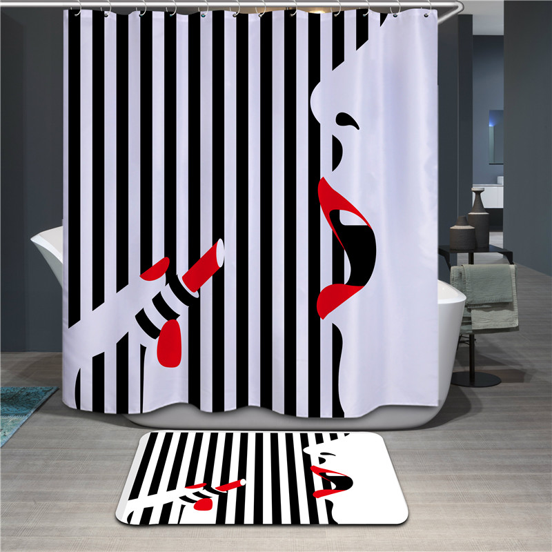 New 3D Black And White Stripes Lipstick Girl Design Shower Curtain Water Resistance Bathing Thicker Waterproof