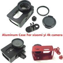 Suptig Caso Moldura de Alumínio de Protecção + 37mm Filtro UV Para Xiaomi Yi 4 K/4 k +/ yi lite Ação Esporte Câmera CNC Carcaça de Alumínio