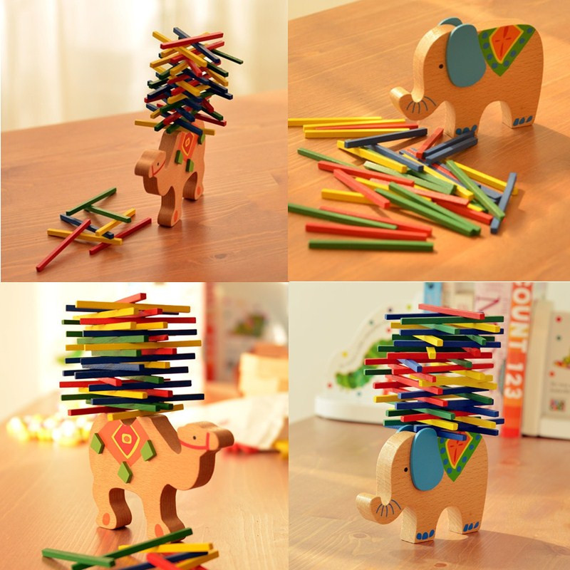 Funny Newest Children Kids Educational Toys Wooden Camel Elephant Balance Game Blocks Children Gift купить