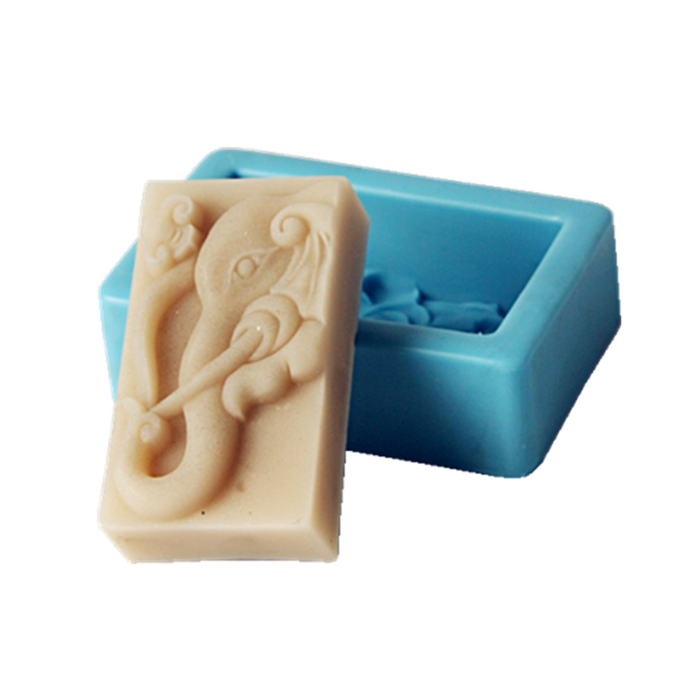 Elephant Design Bar Soap Mold Cake Molds Fragrance Candle Wax Mould Resin Craft Aromatherapy Gypsum Silicone Mold