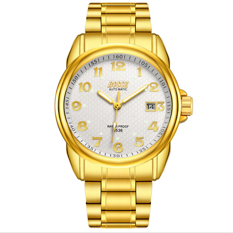New fashion watch stainless steel neutral leisure luxury business watch.