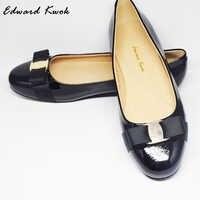 جلد طبيعي النساء ربطة القوس فيونكة مصمم الشقق أحذية DA002