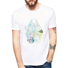 2019 Men's T Shirt Millenium Falcon Space Ship Splatter Art Tee Painted Schematic Cool desgin tee tops(China)
