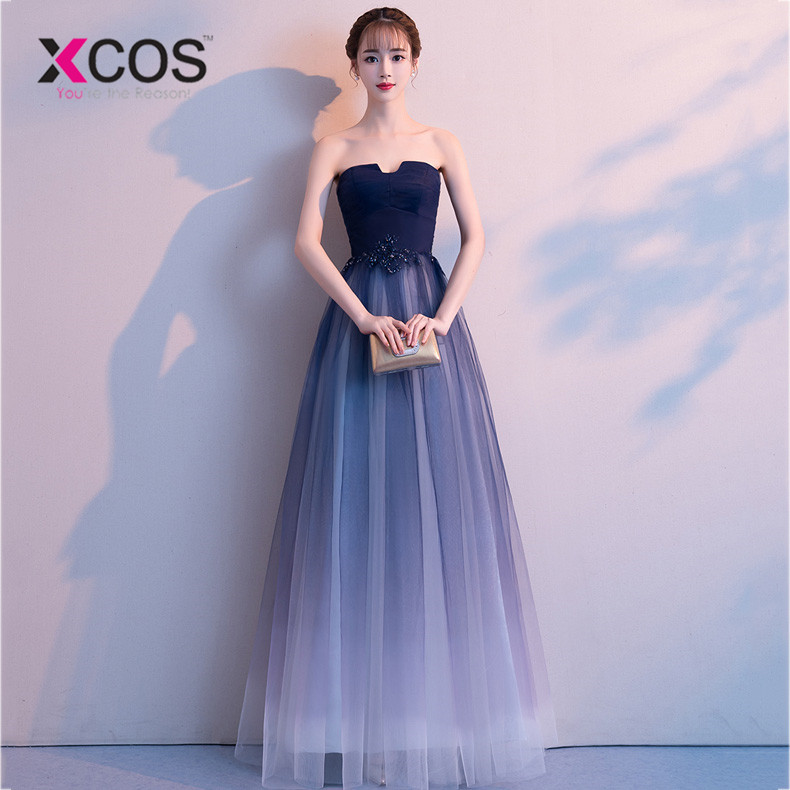 XCOS Elegant Ombre   Prom     dresses   Long with appliques Sweetheart Tulle Navy Blue   dress   for graduation Formal Evening   Prom     Dress