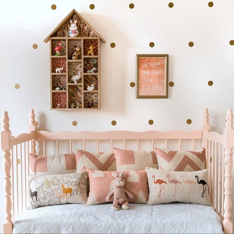 Zlaté Polka Dots Samolepka na zeď Dětské školky Samolepky Dětské vyjímatelné Obtisky na zeď Dekorativní umění Umění Vinyl Wall Art P5