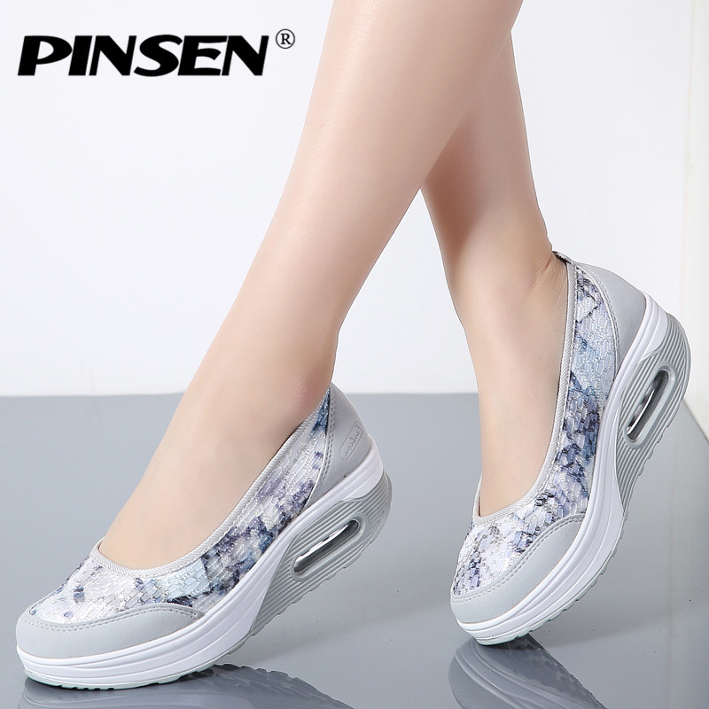 PINSEN 2018 Spring Autumn Women Flat Platform Shoes Woman Comfortable Slip-On Casual Shoes Thick Sole Heel Ladies Shoes Moccasin pinsen 2017 summer women flat platform sandals shoes woman casual air mesh comfortable breathable shoes lace up zapatillas mujer