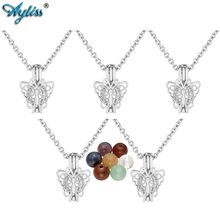 Ayliss New 7 Chakra Reiki Healing Crystals Natural Gem Stone Beads Locket Necklace Mini Silver Hollow Butterfly Pendant Necklace(China)