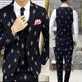 Bordado Traje Nuevo Diseño de Marca de Moda Traje Homme Del Banquete de Boda Vestido de Traje Masculino (chaqueta + Chaleco + Pantalón) traje De Mariage