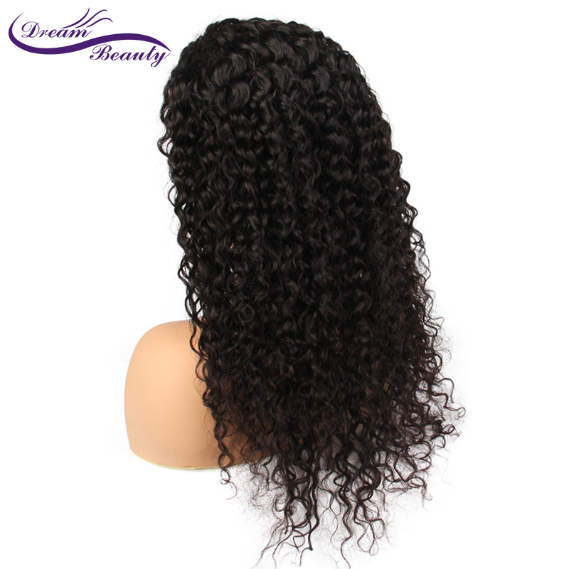 dream beauty Curly Lace Front Human Hair Wigs For Women 130% Density Brazilian Hair Lace Frontal Wig Pre Plucked Full Ends