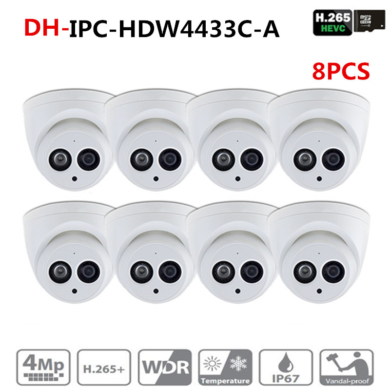 DH IPC-HDW4433C-A POE Network Mini Dome Camera With Built-in Micro 4MP CCTV Camera 8pcs/Lot For CCTV System