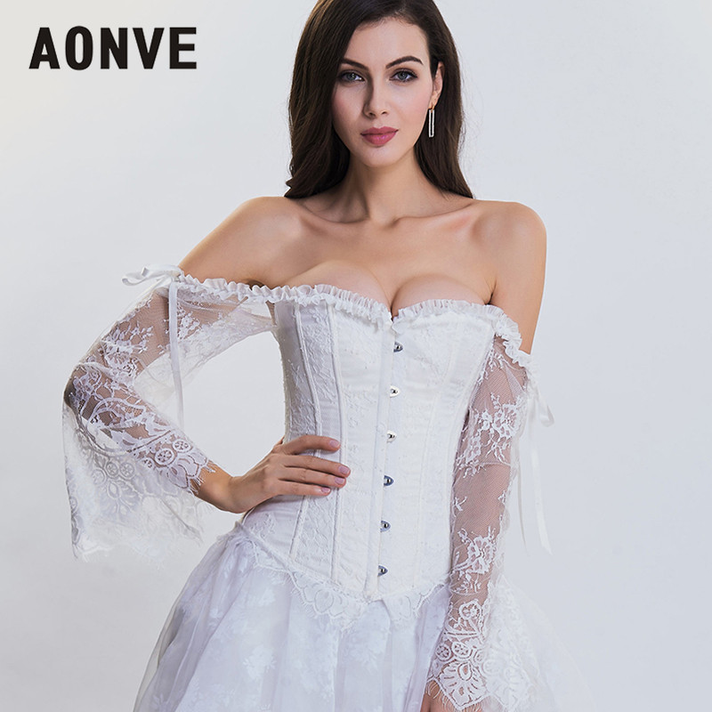 AONVE Women Steampunk   Corset   Gothic   Bustiers   Long Sleeves Off Shoulder Sexy   Corsets   For Wedding Plus Size Goth   Bustiers   Tops