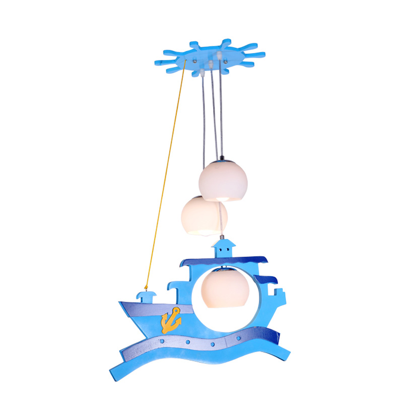 Cartoon Pirate Ships Children's Bedroom Pendant Lights Wooden Cute 3 Lights Baby Room Pendant Light Boy Room Hanging Lamp