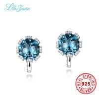 L & zuan 925 Sterling Silver 7.7ct Natural Topaz Blu Pietra Eleganti Orecchini Clip Per Le Donne Regalo
