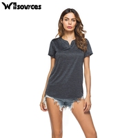 Witsources Women V Neck Casual Tops For Woman Summer Short Sleeve Grey T Shirts T Shirt