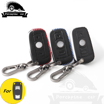 Leather 3 Buttons Remote Smart Car Key Case Cover Protector for BMW E90 E60 E70 E87 3 5 6 Series M3 M5 X1 X5 X6 Z4 image